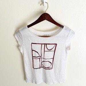 Ann Taylor LOFT Sheer Linen Graphic T-shirt